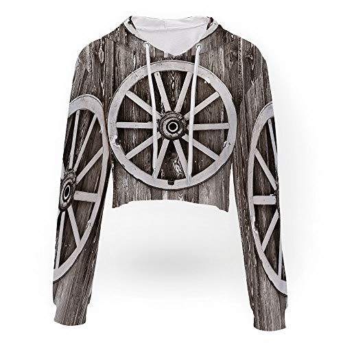 Crop Top Sweatshirt,Barn Wood Wagon Wheel,Sport Crop Top Sweatshirt Jumper Pullo ()