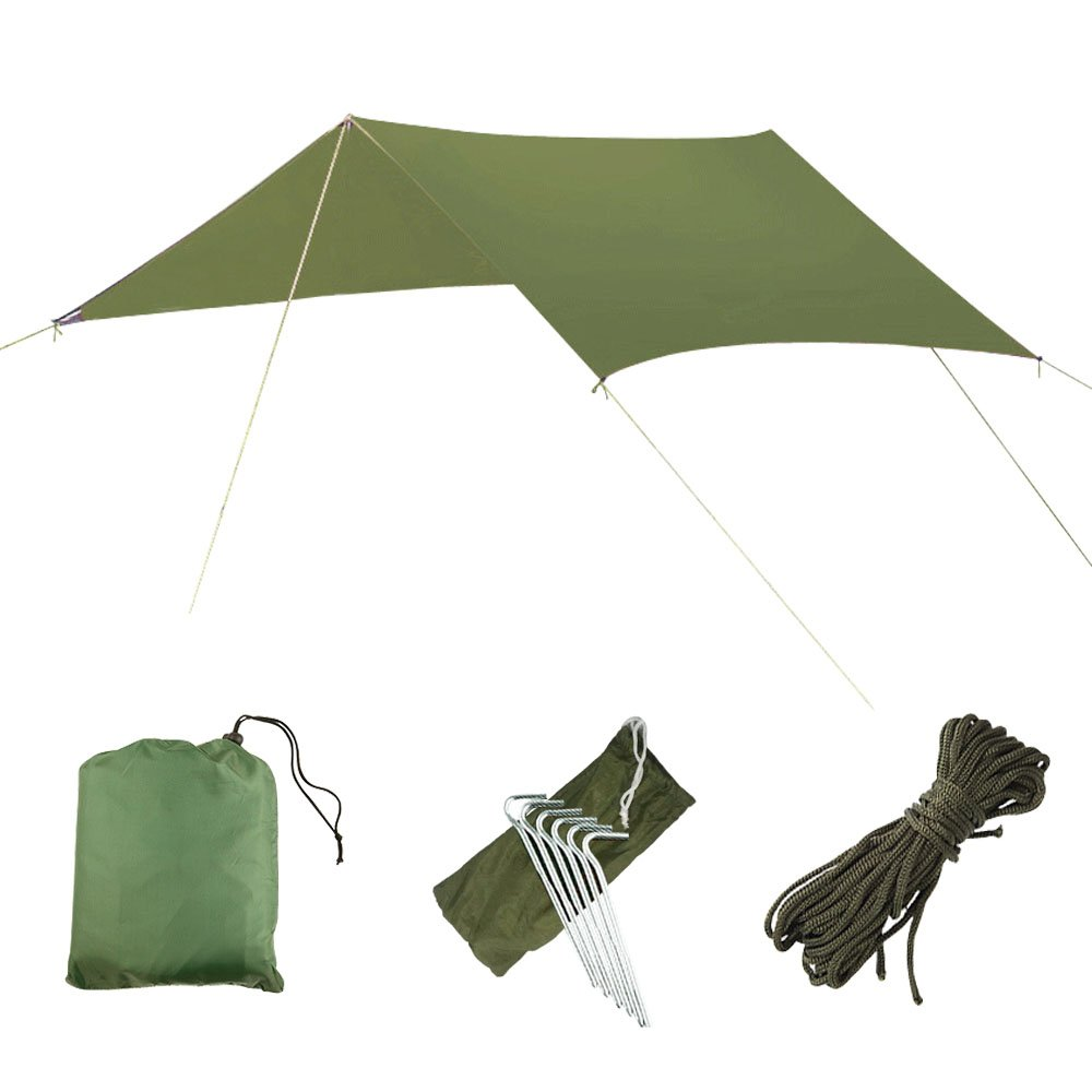 AYAMAYA Camping Tarp Shelter Rain Fly for Tent/Hammock, 10 x 10 Feet Silver Coated Waterproof Hammock Tarps Rainfly Lightweight Rip-Stop Multifunction Ground Cloth Sunshade Mat for Picnic Travelling by AYAMAYA