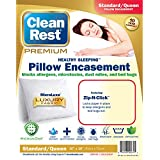 Clean Rest Premium Water-Resistant, Allergy and Bed Bug Blocking Pillow Encasement, Standard/Queen