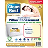 Clean Rest Premium Water-Resistant, Allergy and Bed Bug Blocking Pillow Encasement, Standard/Queen