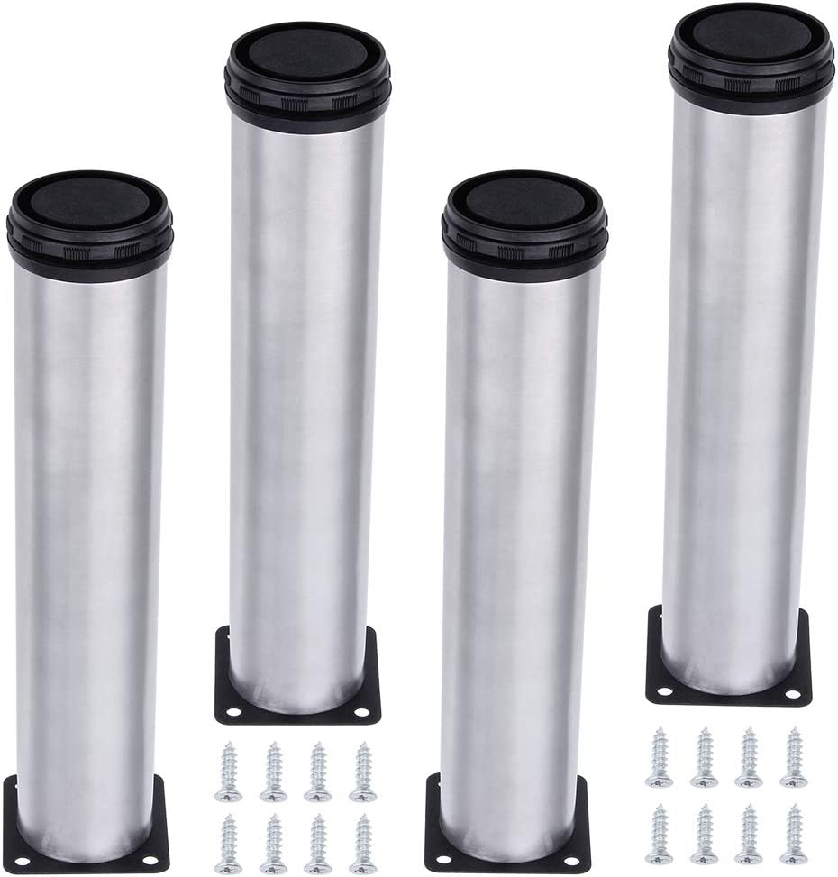 AOWISH 4-Pack Stainless Steel Furniture Legs Furniture Foot Upgraded & Thickened Cabinet Metal Legs 2 Inch Diameter Shelves Sofa Table Kitchen Adjustable Feet with 16 Screws (12 Inch/300 mm Height)