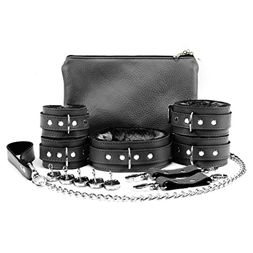 Brussels Set Lockable Wrist Cuffs Ankle Cuffs Collar Chain Leash Full Grain Leather (Black) (Grain Cuff)