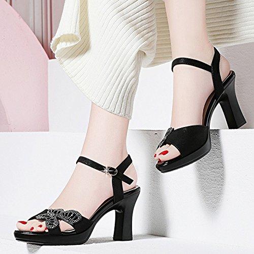 Jqdyl alti I black bocca delle di sandali signore sandali della sandali femminili dell'inarcamento con dei nuovi ruvido marea dell'estate Tacchi i pesce del hanno parola r5SwEr