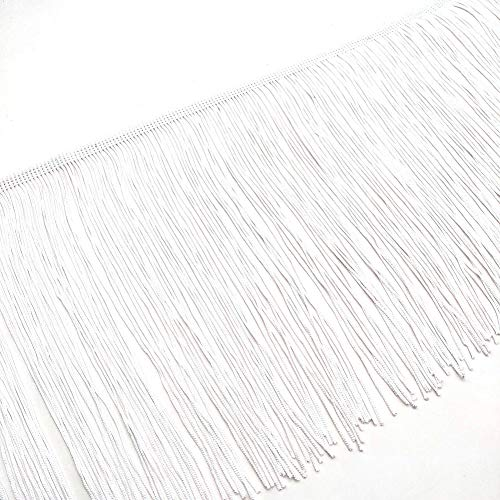 2 Yards Fringe Tassel Trim 20CM Wide Fringe Trim (White)