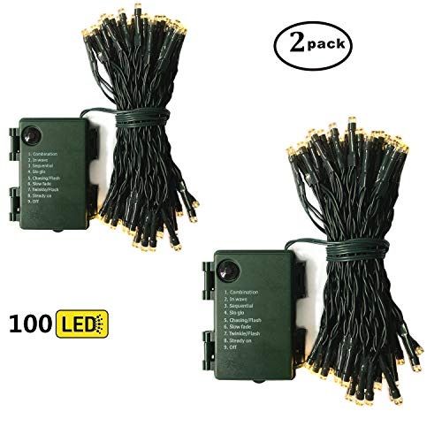 Warm White Led Christmas Lights Green Cable