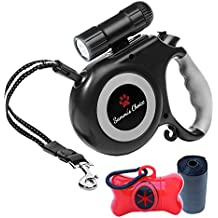 Sammi's Choice Retractable Dog Leash with 9 LED Detachable Flashlight, 16 ft Walking Leash for Small & Medium Dogs up to 44lbs, Tangle Free, One Button Brake & Lock, Dog Waste Dispenser Included