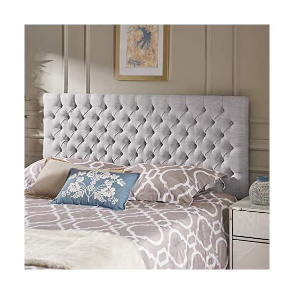 Christopher Knight Home Jezebel Button Tufted Fabric Headboard, Queen, Sand