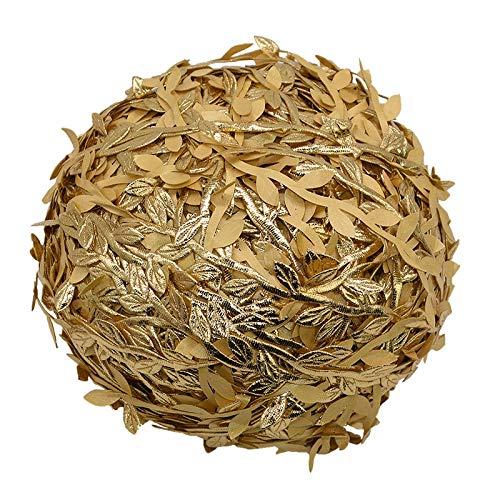 YONGSNOW 109 Yards Artificial Gold Green Leaf Trim Ribbon for Wreath Making DIY Craft Christmas Wedding Decoration ()