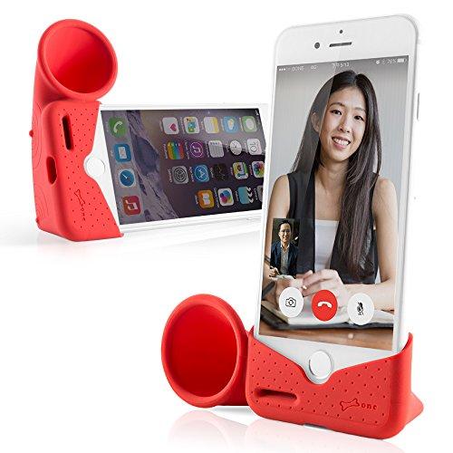 Bone Collection Acoustic Sound Amplifier Phone Stand Speaker Desktop Dock Cradle Holder for iPhone Xs Max, iPhone XR, iPhone 8 7 6 6S Plus, Horn Stand Series - Red (Large)