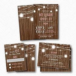 Rustic Mason Jar Lights Wedding Invitation Suite | Envelopes Included