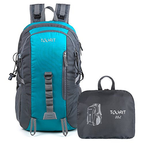 TOURIT Lightweight Packable Travel Hiking Backpack Foldable Daypack Waterproof Back Packs for Hiking, Large Capacity 35L for Men Women Boys Girls to Picnics Sport Outdoor