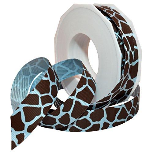 Morex Ribbon 05722/20-308 Giraffe Grosgrain Ribbon, 7/8-Inch by 20-Yard, Blue and Espresso