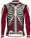 Primal Wear Bone Collector Skeleton Cycling Jersey Men's Long Sleeve Burgandy