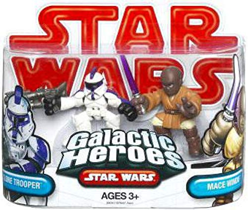 Star Wars 2009 Galactic Heroes 2-Pack Assault Battalion Clone Trooper and Mace Windu