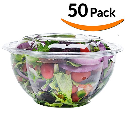 Jfoil Salad To-Go Containers, 32oz, 50 Pack - Clear Plastic Disposable Salad Bowls with Lids, Handcrafted Rustic Willow