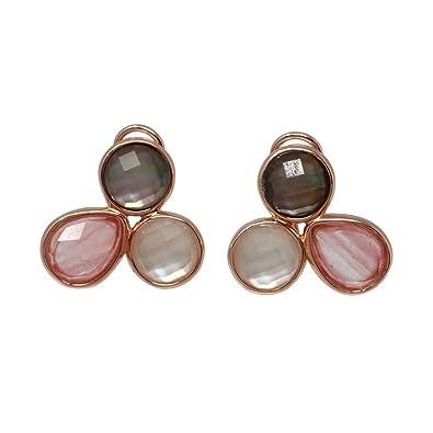 f89f8ecd7276 Pendientes plata Ley rosada GLAMOUR 925 piedras naturales  AC0714    Amazon.es  Joyería