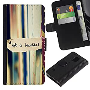 Billetera de Cuero Caso Titular de la tarjeta Carcasa Funda para Samsung Galaxy S5 V SM-G900 / Life Is Beautiful Books Reading Text / STRONG