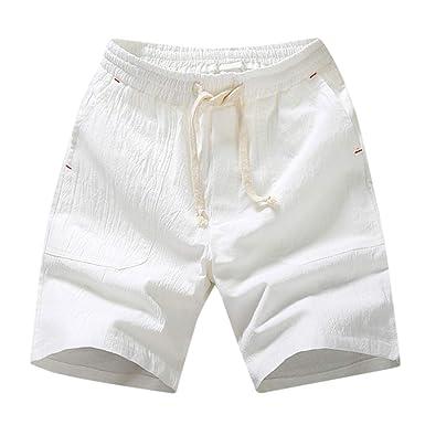 VPASS Pantalones Hombre Verano Casual Moda Algodón y Lino ...