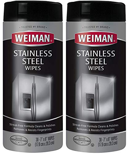 Corp Oven Trading (Weiman Stainless Steel Cleaning Wipes [2 Pack] Removes Fingerprints, Residue, Water Marks and Grease From Appliances - Works Great on Refrigerators, Dishwashers, Ovens, Grills and More(8 x 6.6 x 3.2))