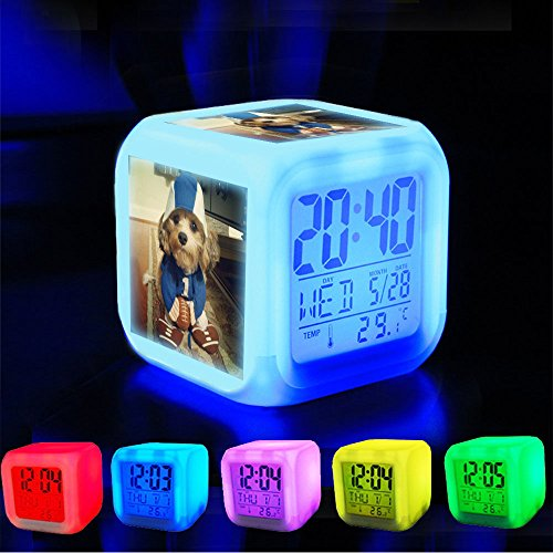 Alarm Clock 7 LED Color Changing Wake Up Bedroom with Data and Temperature Display (Changable Color) Customize the pattern-209.Football Costume - Dog]()