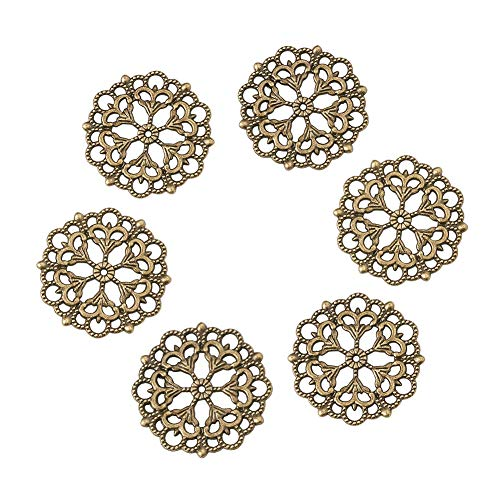 Beadthoven 100-Piece 29mm/1.14''Inch Tibetan Style Filigree Flower Link Antique Bronze Joiners Links Flat Round Charms Base Setting Connector for Jewelry Making Finding Supplies Lead Free & Nickel Fre (Style Filigree Earring Settings)