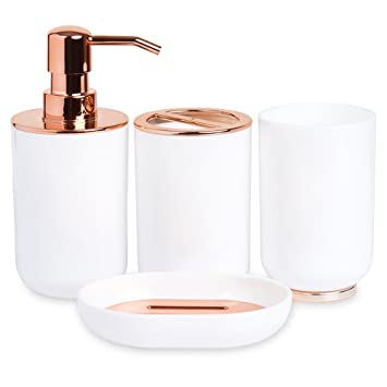 Bathroom Accessories Set  Rose Gold and White 4 Piece Amazon com