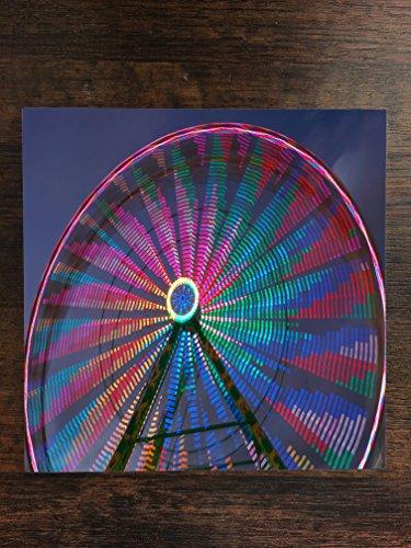 Ferris Wheel at Night Lights at Fair One Piece Premium Ceramic Tile Coaster 4.25
