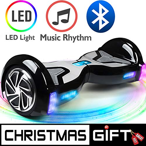 (TOMOLOO Hoverboard, Electric Self-Balancing Smart Scooter, UL 2272 Certified Hover Board 6.5 Two-Wheel with Music Speaker and LED Light)