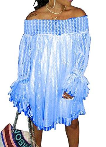 Lunga Mini Azzurro Cocktail Sexy Jaycargogo Off Pizzo Di Manica Partito Spalla Donne Abito FwqqE7Ov