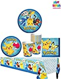 Pokemon Pikachu Party Supplies Pack for 16 Guests - 16 lunch plates, 16 dessert plates , 16 lunch napkins, 16 cups, 1 table cover and 1 HeyDays Happy Birthday Tattoo