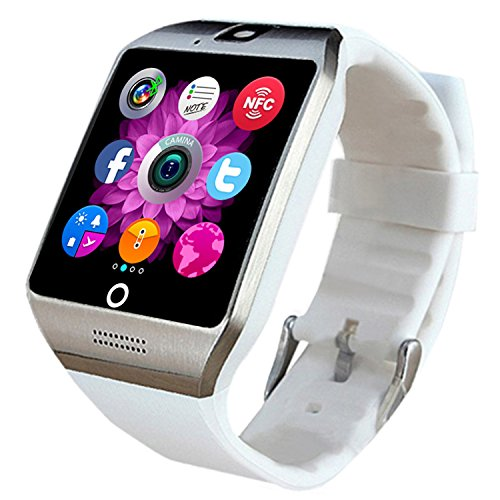 Bluetooth Smart Watch with SIM Card Slot Camera Smartwatch Sports Fitness Tracker Wristwatch for Android Smartphone Samsung Galaxy S8 S7 S6 S5 Note 5 4 3 LG Motorola HTC (White with Silver)