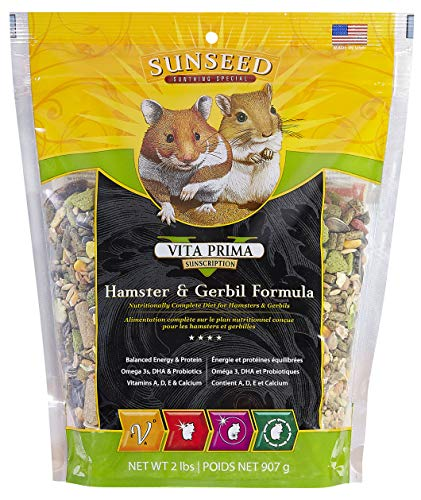 Sunseed 36043 Vita Prima Sunscription Hamster & Gerbil Food - High-Variety Formula, 2 LBS (Hamster Food Premium)