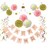 Litaus Birthday Decorations, Pink and Gold Happy Birthday Decorations for Women, Happy Birthday Banner, Hanging Swirls, Paper Garland for 1 Birthday Decorations, Birthday Party, Girls Birthday