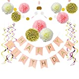 Litaus Birthday Decorations, Pink and Gold Happy Birthday Decorations, Happy Birthday Banner, Pom Poms Flowers Kit, Hanging Swirl for 1 Birthday Decorations, Baby Girl Birthday Decorations