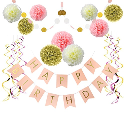 Litaus Pink and Gold Birthday Decorations, Pom Poms Flowers Kit ,Happy Birthday Banner,paper Garland,Hanging Swirl for 1st Birthday Girl Decorations Kids Birthday Birthday Decor