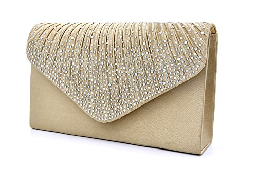 (Nodykka Women Evening Envelope Rhinestone Frosted Handbag Party Bridal Clutch Purse,One Size,Champagne)