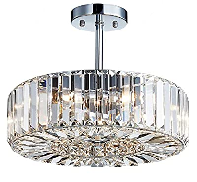 """Saint Mossi Modern Crystal Semi Flush Mount Chandelier Lighting Close to Ceiling Lights Clear Crystal Lampshade 16"""" inch Width,10"""" inch Height"""
