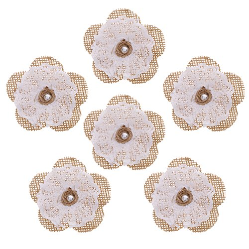 WXLAA 6PCS DIY Craft Handmade Burlap Flowers with Lace Pearl Wedding Party Decor