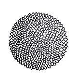 heaven2017 Round Flower PVC Mesh Net Anti-Slip Pad Coaster Bowl Pan Place Mat Black
