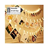 Dimmable 50 LED Photo Clips String Lights Holder with Remote & Timer Function, Decute 8 Modes Fairy Lights for Hanging Photos Pictures Cards Memos, Warm White Decoration Light for Bedroom Wedding