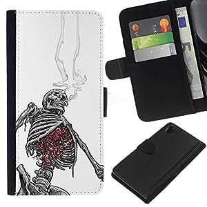 All Phone Most Case / Oferta Especial Cáscara Funda de cuero Monedero Cubierta de proteccion Caso / Wallet Case for Sony Xperia Z2 D6502 // White Black Skeleton Skull Smoke