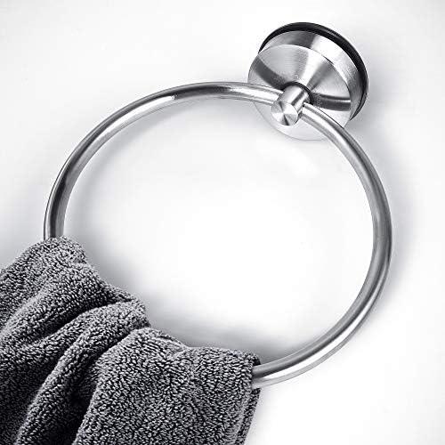 Redondo Toallero Anilla Soporte Percha de Cocina Ba/ño No-perforar Acabado Cepillado Toallero Anillo Ba/ño Acero Inoxidable Ventosa YOHOM Suction Cup Towel Ring Toallero de Aro