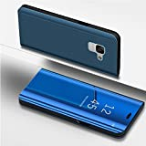 Galaxy A8 2018 Case,IKASEFU PU Leather Electroplate Plating Stand PC Mirror Flip Folio Case Cover Protective Ultra Slim Thin Full Body Protective Case Cover for Samsung Galaxy A8 2018,Blue