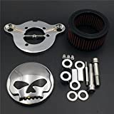 XKMT GROUP Chromed Skull Eyes Air Cleaner Intake Filter System Kit For Harley Sportster XL883 XL1200 1988 1989 1990 1991 1992 1993 1994 1995 1996 1997 1998 1999 2010 2011 2012 2013 2014 2015