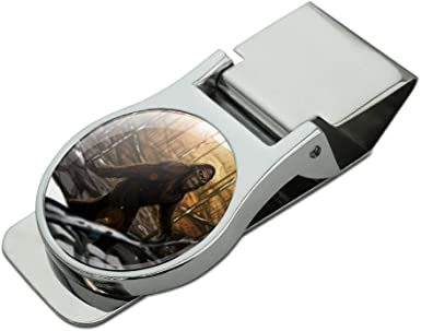 Bigfoot Sasquatch Walking in the Woods Satin Chrome Plated Metal Money Clip