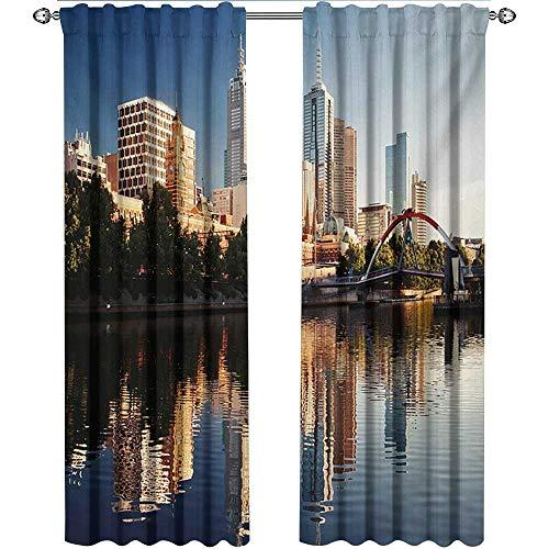 (City, Party Curtains Decorations, Idyllic View of Yarra River Melbourne Australia Architecture Tourism, Curtains for Kitchen Windows, W84 x L108 Inch, Dark Blue Ivory Dark)