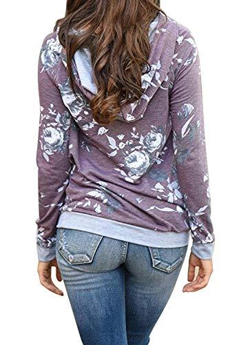 shirt Magliette Bohemien Chic Donna Stampa Floreale e Tunica con Top Cappuccio Divertente Inverno Autunno Coulisse Felpa Manica B Tasche Pullover Viola Tumblr Fantasia Vintage con Ragazza T Lunga Blusa Hippie qxR8wWv7E