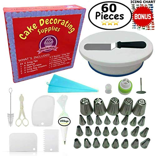 Cake Decorating Supplies - (SPECIAL CAKE DECORATING KIT WITH ICING CHART) and LARGE Numbered Tips, Cake Rotating Turntable, 24 icing tips and more! Create BEAUTIFUL Cakes With This Complete Cake Set!