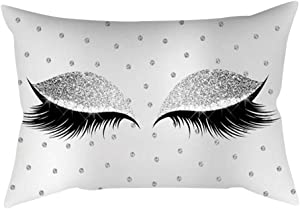 Mumusuki Home Decoration Eyelash Pattern Polyester Cushion Cover Office Car Cafe Pillow Case Sofa Bed Decor (I)
