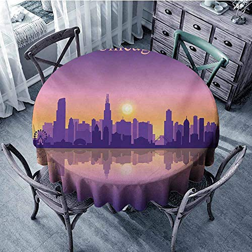 (HeKua Chicago Skyline,Round Tablecloth for Party Banquet D 70